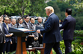 United States President Donald J. Trump and Prime Minister of Japan Shinzo Abe hold a joint news conference in the Rose Garden of the White House after their meeting on June 7, 2018 in Washington, DC.<br /> Credit: Yuri Gripas / Pool via CNP
