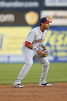 Argenis Diaz #11 of the Portland Sea Dogs on defense versus the Trenton Thunder at Waterfront Park May 12, 2009 in Trenton, New Jersey. (Photo by Brian Westerholt / Four Seam Images)