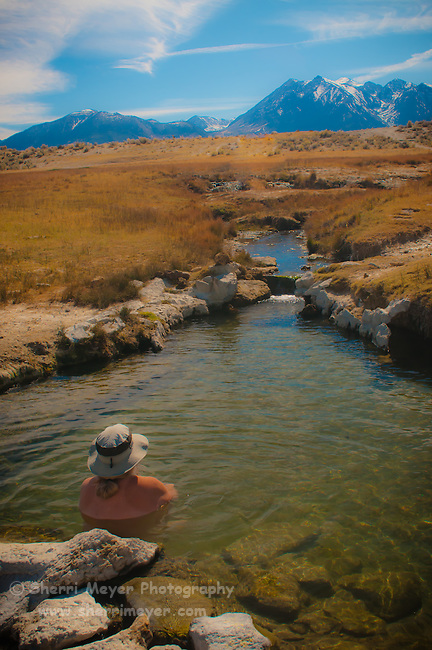 Soaking in Wild Willy's (Crowley Hot Spring) Hot Spring, Eastern Sierra, California.