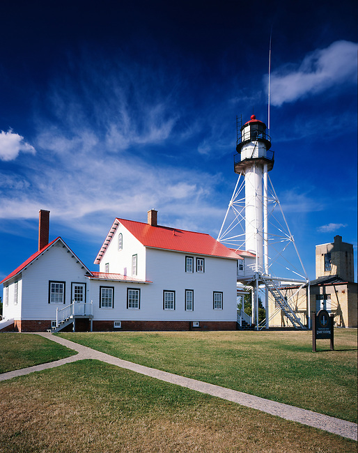 Whitefish Point lighthouse; established 1861; status: active; type: skeletal; Whitefish Point; Lake Superior; Michigan