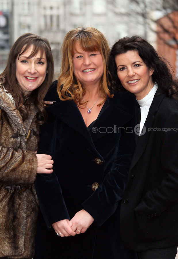 ****NO REPRODUCTION FEE PICTURE***.06/02/12 Pauline McLynn who plays Noirin,, Fiona Looney, Playright and  Deirdre O'Kane who plays Jean and Ryan Andrews as Davey pictured this afternoon at the Gaiety Theatre, Dublin at the launch of details of the new Fiona Looney play, 'Greener'...The play opens on 1st May 2012...Picture Colin Keegan, Collins, Dublin. ****NO REPRODUCTION FEE PICTURE****