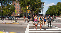 Pedestrians cross the intersection of Nassau and Navy Streets in the Fort Greene neighborhood of Brooklyn in New York are scene on Sunday, August 26, 2012. (© Richard B. Levine)