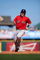 Boston Red Sox catcher Ryan Hanigan (10) running the bases during a Spring Training game against the Pittsburgh Pirates on March 9, 2016 at McKechnie Field in Bradenton, Florida.  Boston defeated Pittsburgh 6-2.  (Mike Janes/Four Seam Images)