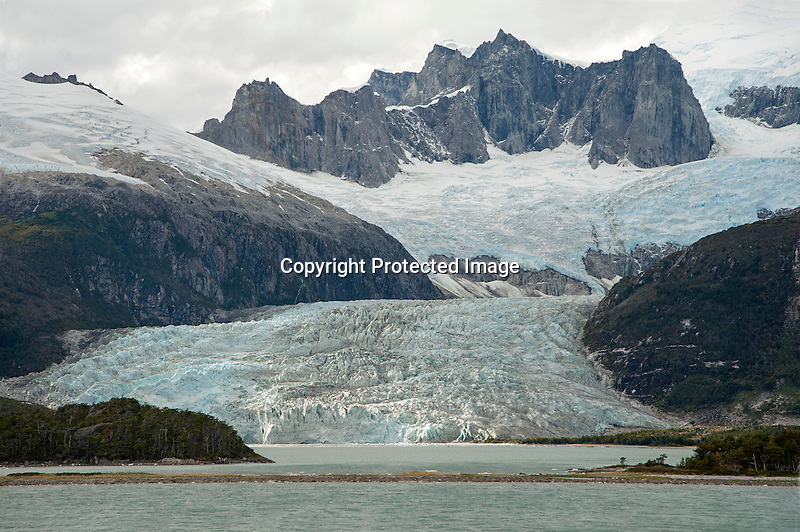 Massive Pia Glacier in the Darwin Mountain Range in Tierra del Fuego in Patagonia Chile