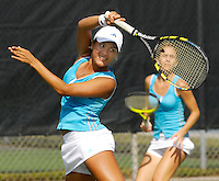 Florida International University freshman Priscilla Castillo returns a shot during her doubles match against the University of South Florida's doubles pairing of Iciri Rai and Liz Cruz on the final day of the FIU Spring Invitational, January 19-21, 2007 at Miami, Florida.  Castillo and her doubles partner junior Marijana Cutuk lost, 8-6..