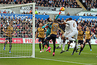 Petr Cech of Arsenal again denies a goal to Andre Ayew and Ashley Williams of Swansea during the Barclays Premier League match between Swansea City and Arsenal at the Liberty Stadium, Swansea on October 31st 2015