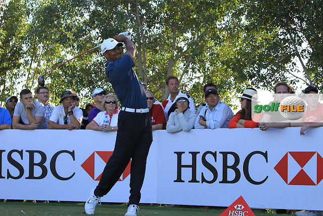 Tiger Woods (USA) tees off the 17th tee during Friday's Round 2 of the Abu Dhabi HSBC Golf Championship at Abu Dhabi Golf Club, 18th January 2013 (Photo Eoin Clarke/www.golffile.ie)