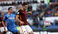 Calcio, Serie A: Roma vs Empoli. Roma, stadio Olimpico, 17 ottobre 2017.<br /> Roma&rsquo;s Kostas Manolas, right, is chased by Empoli&rsquo;s Manuel Pucciarelli during the Italian Serie A football match between Roma and Empoli at Rome's Olympic stadium, 17 October 2015.<br /> UPDATE IMAGES PRESS/Isabella Bonotto