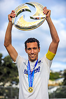 Auckland City FC captain Angel Berlanga with the trophy after the Oceania Football Championship final (second leg) football match between Team Wellington and Auckland City FC at David Farrington Park in Wellington, New Zealand on Sunday, 7 May 2017. Photo: Dave Lintott / lintottphoto.co.nz