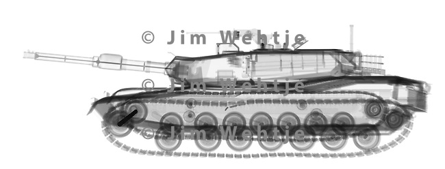 X-ray image of an M1A1 Abrams tank (black on white) by Jim Wehtje, specialist in x-ray art and design images.