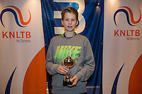 Hilversum, Netherlands, December 4, 2016, Winter Youth Circuit Masters, 3 th place boys 14 years Teun Rozenberg <br /> Photo: Tennisimages/Henk Koster