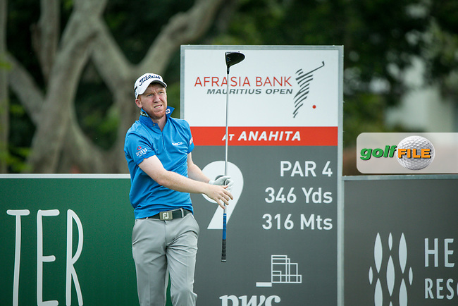Gavin Moynihan (IRL) on the 9th tee during the 3rd round of the AfrAsia Bank Mauritius Open, Four Seasons Golf Club Mauritius at Anahita, Beau Champ, Mauritius. 01/12/2018<br /> Picture: Golffile | Mark Sampson<br /> <br /> <br /> All photo usage must carry mandatory copyright credit (© Golffile | Mark Sampson)