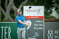 Gavin Moynihan (IRL) on the 9th tee during the 3rd round of the AfrAsia Bank Mauritius Open, Four Seasons Golf Club Mauritius at Anahita, Beau Champ, Mauritius. 01/12/2018<br /> Picture: Golffile | Mark Sampson<br /> <br /> <br /> All photo usage must carry mandatory copyright credit (&copy; Golffile | Mark Sampson)