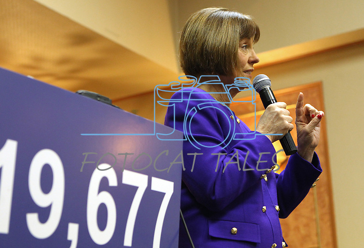 Nevada congressional candidate Sharron Angle answers media questions Monday, March 21, 2011, in Reno, Nev. During the event, Angle repeatedly referred to the 19,677 votes which she led U.S. Senate Majority Leader Harry Reid by in the 2nd Congressional District during the last election. .Photo by Cathleen Allison