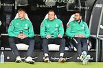 06.10.2019, Commerzbankarena, Frankfurt, GER, 1. FBL, Eintracht Frankfurt vs. SV Werder Bremen, <br /> <br /> DFL REGULATIONS PROHIBIT ANY USE OF PHOTOGRAPHS AS IMAGE SEQUENCES AND/OR QUASI-VIDEO.<br /> <br /> im Bild:  Luc Ihorst (SV Werder Bremen #29), Philipp Bargfrede (#44, SV Werder Bremen), Claudio Pizarro (SV Werder Bremen #14)<br /> <br /> Foto © nordphoto / Fabisch