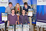Daniel Carmody, Luke Stafford -Lacey, Ms Brassil(teacher) and Daniel Pierce with their Merit award on Friday adfter they were presented to them at the Lee Strand Garda Youth Award,in The Brandon Hotel, Tralee...