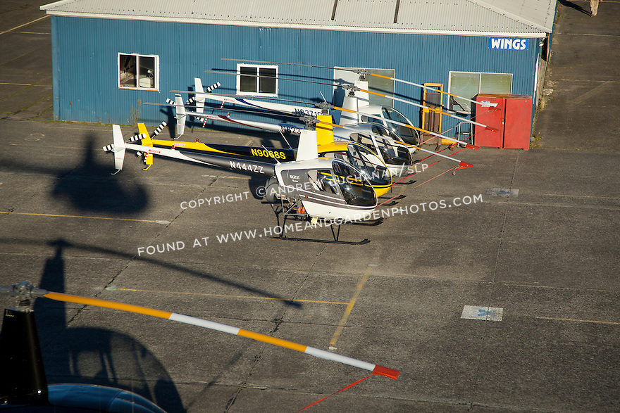 Aerial view of helicopters at Boeing Field in Seattle