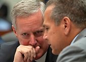 "United States Representative Mark Meadows (Republican of North Carolina), left, and US Representative David Cicilline (Democrat of Rhode Island), left, discuss the Democrat's request to release the closed-door transcript of FBI Deputy Assistant Director Peter Strzok as testifies during a joint hearing of the United States House Committee on the Judiciary and the US House Committee on Oversight and Government Reform on ""Oversight of FBI and DOJ Actions Surrounding the 2016 Election"" on Capitol Hill in Washington, DC on Thursday, July 12, 2018. <br /> Credit: Ron Sachs / CNP<br /> (RESTRICTION: NO New York or New Jersey Newspapers or newspapers within a 75 mile radius of New York City)"