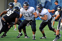 12 August 2011:  FIU's Giancarlo Revilla (53) and Kevin Van Kirk (67) block Jerrico Lee (98) during a scrimmage held as part of the FIU 2011 Panther Preview at University Park Stadium in Miami, Florida.