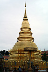 Central chedi at Wat Phra That Haripunchai in Lamphun,Thailand