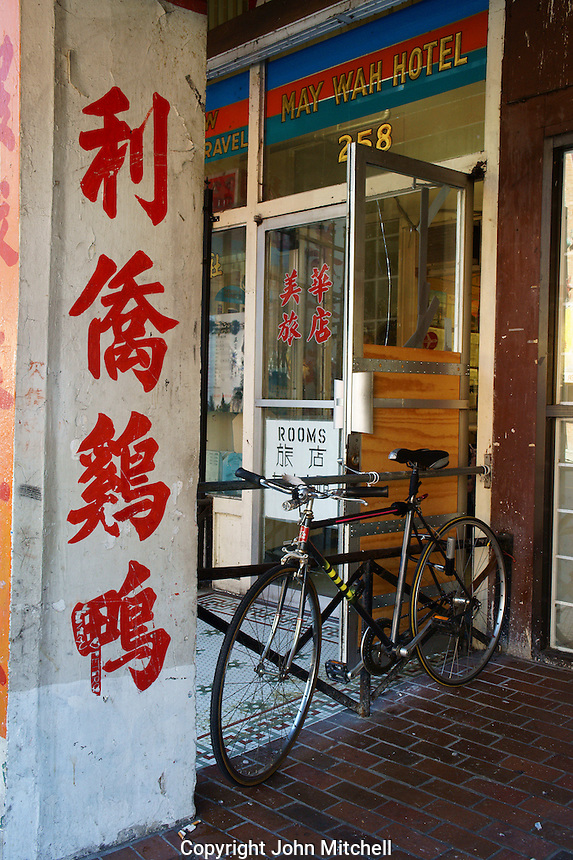 Bicycle outside a hotel in Chinatown, Vancouver, British Columbia, Canada