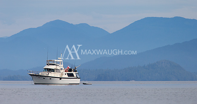 The Great Bear II sits at anchor on the BC coast.
