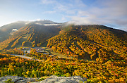 Cannon Mountain from Bald Mountain in the White Mountains, New Hampshire during the autumn months.