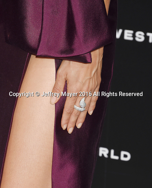 HOLLYWOOD, CA - SEPTEMBER 28: Actress Angela Sarafyan, ring detail, at the premiere of HBO's 'Westworld' at TCL Chinese Theater on September 28, 2016 in Hollywood, California.