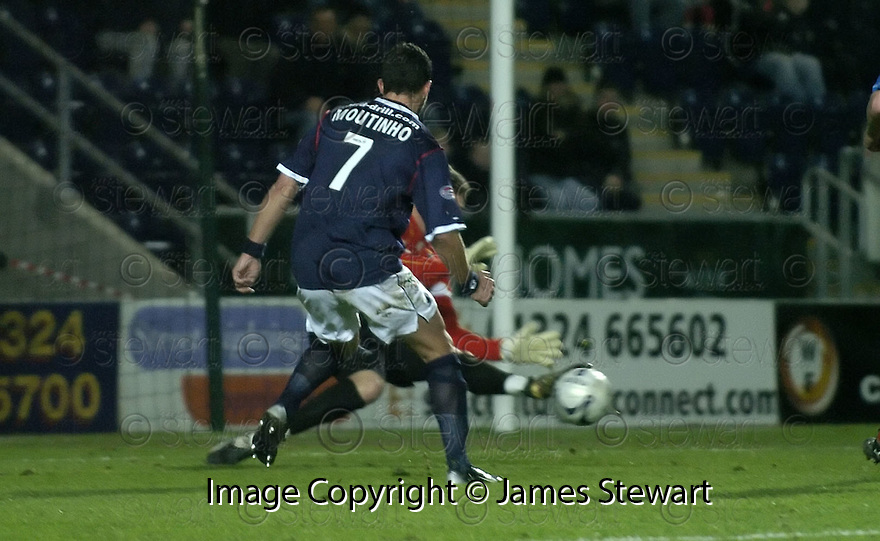 26/12/2007      Copyright Pic: James Stewart.File Name : sct_jspa08_falkirk_v_ict.MICHAEL FRASER SAVES AT CLOSE RANGE FROM PEDRO MOUTINHO NEAR THE END OF THE GAME.James Stewart Photo Agency 19 Carronlea Drive, Falkirk. FK2 8DN      Vat Reg No. 607 6932 25.Office     : +44 (0)1324 570906     .Mobile   : +44 (0)7721 416997.Fax         : +44 (0)1324 570906.E-mail  :  jim@jspa.co.uk.If you require further information then contact Jim Stewart on any of the numbers above.........