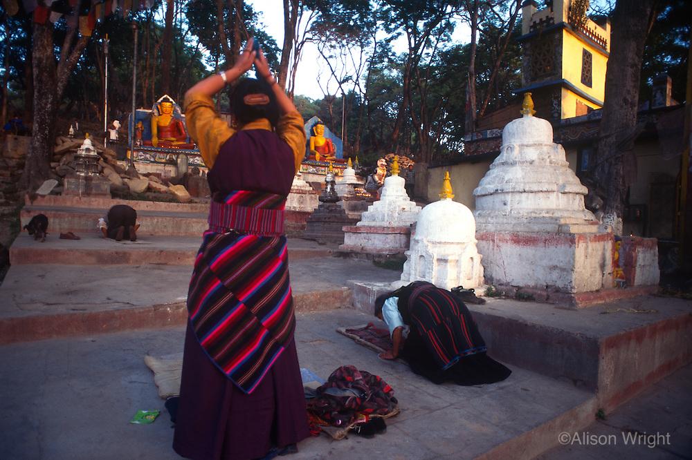 Tibetans prostrating at Swayambunath stupa.