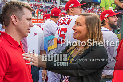 7 October 2016: Washington Nationals Senior Director of Communications Amanda Comak prepares staff for their introductions prior to the first game of the NLDS between the Washington Nationals and the Los Angeles Dodgers at Nationals Park in Washington, DC. The Dodgers edged out the Nationals 4-3 to take the opening game of their best-of-five series. Mandatory Credit: Ed Wolfstein Photo *** RAW (NEF) Image File Available ***