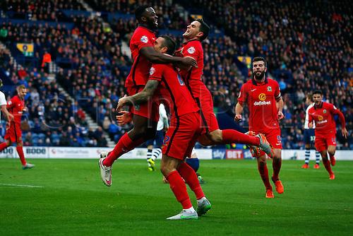 21.11.2015. Deepdale, Preston, England. Skybet Championship. Preston North End versus Blackburn. Hope Akpan of Blackburn Rovers celebrates scoring his teams first goal (0-1)