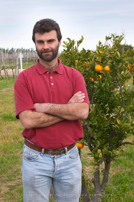 Manuel Filgueira in the vineyard Vinedos y Bodega Filgueira Winery, Cuchilla Verde, Canelones, Montevideo, Uruguay, South America
