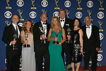 """LOS ANGELES, CA. - September 20: (L-R) Producers David Coatsworth and Rachael Horovitz, director Michael Sucsy, actors Jessica Lange and Ken Howard, producers Lucy Barzun Donnelly and Albert Maysles of """"Grey Gardens"""" pose in the press room at the 61st Primetime Emmy Awards held at the Nokia Theatre on September 20, 2009 in Los Angeles, California."""