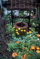 Cute wishing well with thatched roof, with flowers; perennials and annuals planted together. Calendula, Heuchera with purple foliage in bloom, colorful lush plantings, verbascum, house wall, rue herb, orange blooms, campanula, canna, in an adorable and sweet garden scene