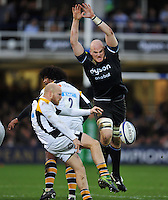 Joe Simpson of Wasps attempts ot box-kick the ball as Matt Garvey of Bath Rugby looks to charge him down. European Rugby Champions Cup match, between Bath Rugby and Wasps on December 19, 2015 at the Recreation Ground in Bath, England. Photo by: Patrick Khachfe / Onside Images
