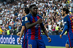 Samuel Umiti of FC Barcelona celebrates after scoring a goal during the match of La Liga between Real Madrid and Futbol Club Barcelona at Santiago Bernabeu Stadium  in Madrid, Spain. April 23, 2017. (ALTERPHOTOS)