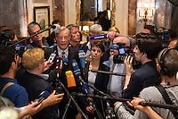 """Treffen des Zentralrat der Muslime mit AfD-Parteispitze am 23. Mai 2016 im Regent-Hotel in Berlin.<br /> Der Zentralrat der Muslime (ZDM) hatte fuehrende AfD-Politiker zu einem Gespraech eingeladen, um ueber diskriminierende und islamfeindliche Ausserungen und Passagen im AfD-Parteiprogramm zu reden. Die AfD-Politiker liessen das Gespraech nach kurzer Zeit platzen und beschuldigten den ZDM """"nicht auf Augenhoehe"""" mit der AfD reden und sie """"erpressen"""" zu wollen.<br /> Vlnr.: Armin-Paul Hampel (eigentlich Armin-Paulus Hampel), Vorstandsmitglied; Frauke Petry, AfD-Vorsitzende; Albrecht Glaser, AfD-Kandidat zur Wahl des Bundespraesidenten. Der stellvertretende AfD-Sprecher Glaser ist ehemaliges CDU-Mitglied und war als Stadtkaemmerer in Frankfurt verwickelt in umstrittene Fondgeschaefte.<br /> 23.5.2016, Berlin<br /> Copyright: Christian-Ditsch.de<br /> [Inhaltsveraendernde Manipulation des Fotos nur nach ausdruecklicher Genehmigung des Fotografen. Vereinbarungen ueber Abtretung von Persoenlichkeitsrechten/Model Release der abgebildeten Person/Personen liegen nicht vor. NO MODEL RELEASE! Nur fuer Redaktionelle Zwecke. Don't publish without copyright Christian-Ditsch.de, Veroeffentlichung nur mit Fotografennennung, sowie gegen Honorar, MwSt. und Beleg. Konto: I N G - D i B a, IBAN DE58500105175400192269, BIC INGDDEFFXXX, Kontakt: post@christian-ditsch.de<br /> Bei der Bearbeitung der Dateiinformationen darf die Urheberkennzeichnung in den EXIF- und  IPTC-Daten nicht entfernt werden, diese sind in digitalen Medien nach §95c UrhG rechtlich geschuetzt. Der Urhebervermerk wird gemaess §13 UrhG verlangt.]"""