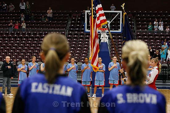 national anthem. Richfield - Piute vs. Rich high school girls basketball, 1A state championship game at the Sevier Valley Center, Saturday, February 16, 2008..; 2.16.2008