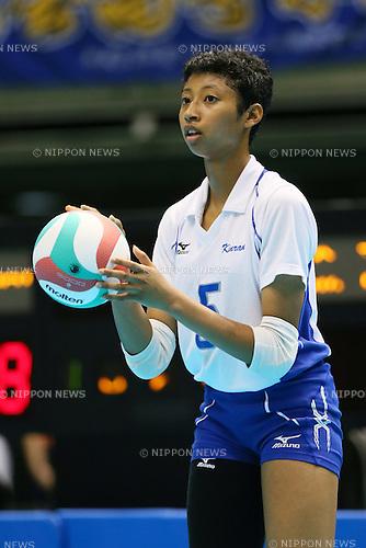 Airi Miyabe (Kinrankai), <br /> AUGUST 11, 2014 - Volleyball : <br /> 2014 All-Japan Inter High School Championships, <br /> Women's Semi-final match <br /> between Kinrankai 2-0 Furukawa Gakuen <br /> at Tokyo Metropolitan Gymnasium, Tokyo, Japan. <br /> (Photo by YUTAKA/AFLO SPORT) [1040]