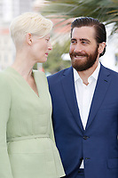 "Tilda Swinton and Jake Gyllenhaal at the ""Okja"" photocall during the 70th Cannes Film Festival at the Palais des Festivals on May 19, 2017 in Cannes, France. Credit: John Rasimus /MediaPunch ***FRANCE, SWEDEN, NORWAY, DENARK, FINLAND, USA, CZECH REPUBLIC, SOUTH AMERICA ONLY***"