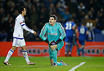 Riyad Mahrez of Leicester City celebrates the second goal  in the background as Thibaut Courtois of Chelsea lies stranded - English Premier League - Leicester City vs Chelsea - King Power Stadium - Leicester - England - 14th December 2015 - Picture Simon Bellis/Sportimage