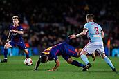 11th January 2018, Camp Nou, Barcelona, Spain; Copa del Rey football, round of 16, 2nd leg, Barcelona versus Celta Vigo; Fontas of Celta Vigo fouls  Luis Suarez of FC Barcelona