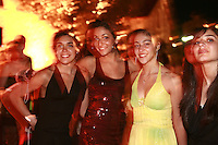 September 23, 2007; Patras, Greece;  (Center) Alexandra Orlando of Canada poses with friends at banquet after 2007 World Championships Patras.  Photo by Tom Theobald. ..Photo note: Will try to get the id of the other gymnasts with Alex (have no clue at moment).  This was...well PATRAS was all off-the-scale experience totally at this point!  I was messing with flash settings and somehow the shutter speed got set to 50th/sec!  No matter, go with the camera direct double-exposure of Alex.  It was all good after ANYA WON! :):):)  Congratulations to Alexandra to qualify for Beijing 2008....