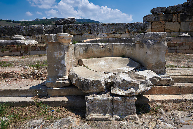 Picture of the Nymphaeum Fountain located inside the sacred area in front of the Apollo temple on the main colonnaded road. Dated from the 2nd century AD and repaired in the 5th century during the Byzantine era. Hierapolis archaeological site near Pamukkale in Turkey.