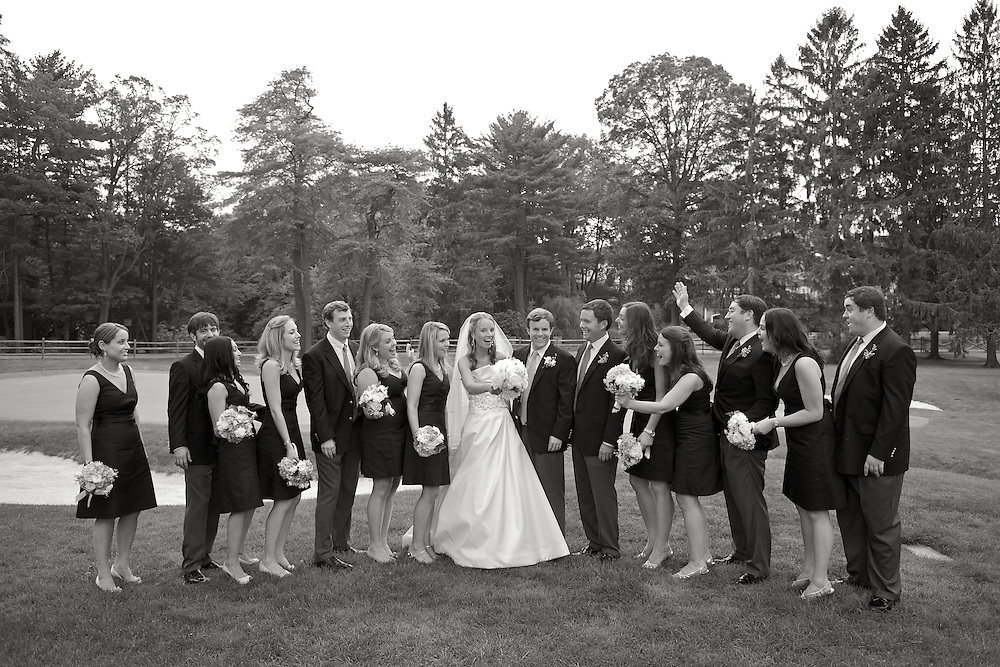 The Bridal Party on the golf course at Apawamis Country Club, Rye, NY