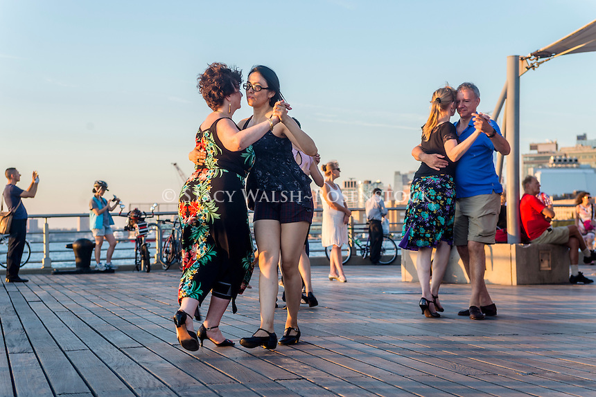 New York, NY - 28 August 2016 - Argentine Tango on the Christopher Street Pier in Hudson River Park, in Greenwich VIllage.