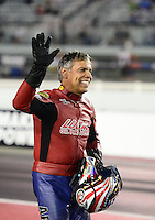 Sept. 16, 2012; Concord, NC, USA: NHRA pro stock motorcycle rider Hector Arana Sr during the O'Reilly Auto Parts Nationals at zMax Dragway. Mandatory Credit: Mark J. Rebilas-