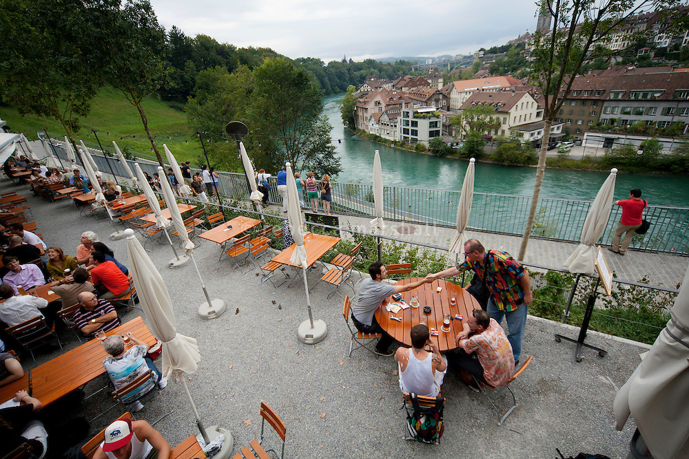 The terrace at Altes Tramdepot bar and restaurant overlooks the River Aare, Bern, Switzerland, 26 August 2011