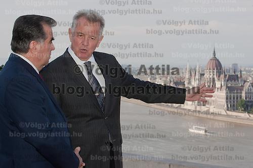 Pal Schmitt president of Hungary greets Emomali Rahmon President of the Tajikistan in Budapest, Hungary on June 10, 2011. ATTILA VOLGYI